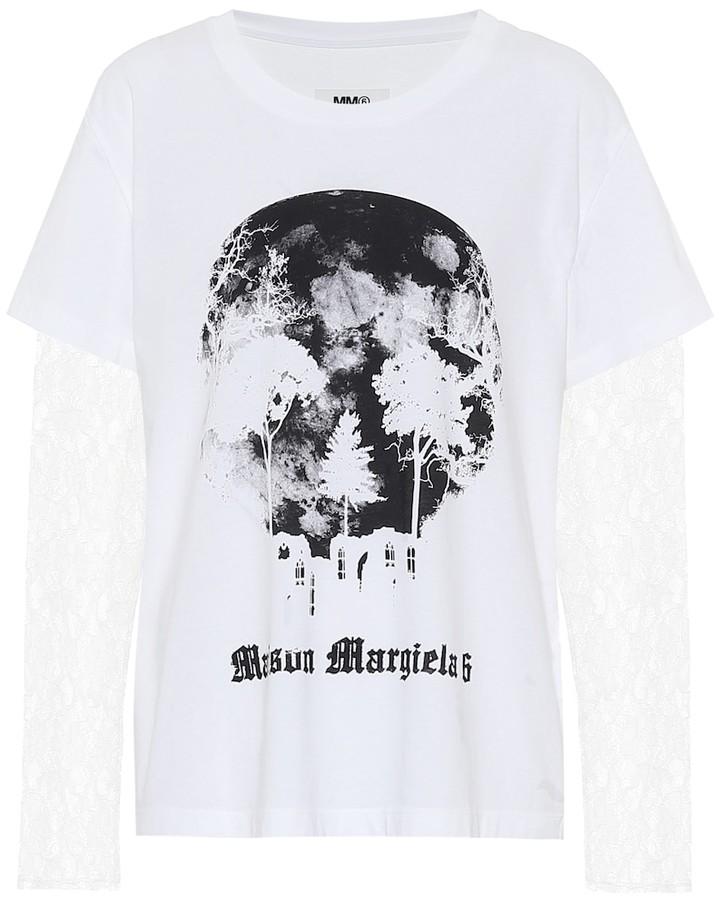 MM6 MAISON MARGIELA Lace-trimmed cotton T-shirt