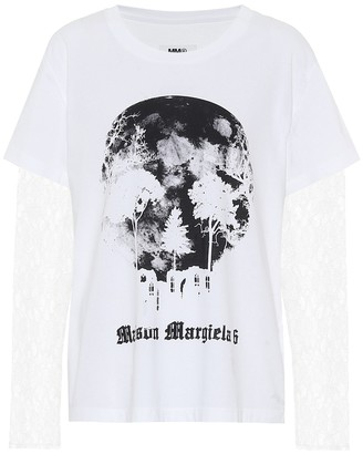 MM6 MAISON MARGIELA Lace-trimmed cotton T-shirt