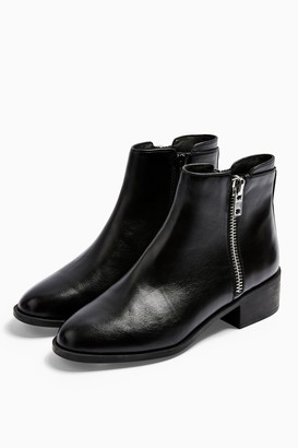 Topshop KHLOE Leather Black Zip Flat Boots