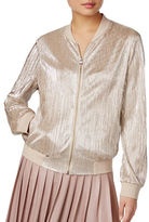 I.N.C International Concepts Petite Metallic Pleated Bomber Jacket