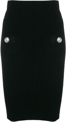 Balmain High-waisted buttoned skirt