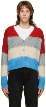 MAISON KITSUNÉ Multicolor Fluffy Stripes Boxy Cardigan
