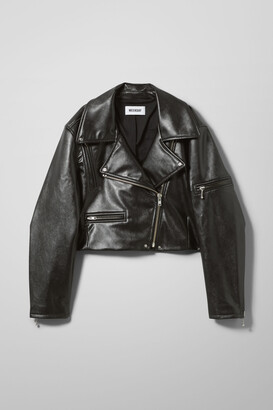 Weekday Daria PU Biker Jacket - Black