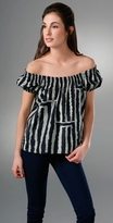 Tibi Zebra Smocked Top