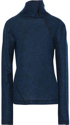 Helmut Lang Leather-trimmed Brushed Wool-blend Turtleneck Sweater
