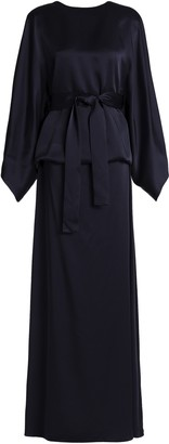 Chalayan Belted Satin-crepe Peplum Gown