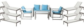 Lrg Rosecliff Heights CHSTR 13 Piece Complete Patio Set with Cushions Rosecliff Heights Frame Finish: White, Cushion Color: Blue