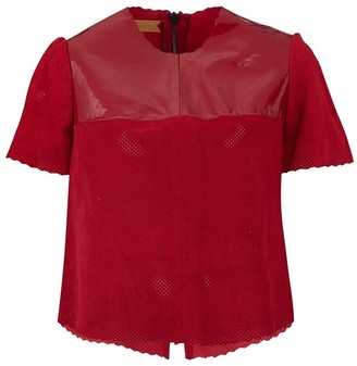 Manley Belle Leather T-Shirt - Red
