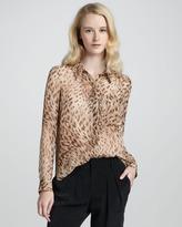Haute Hippie Leopard-Print Button Down Blouse