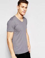 Esprit V-Neck Short Sleeve T-Shirt with Roll Sleeve