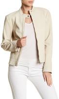 Cole Haan Lambskin Leather Front Zip Jacket