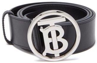Burberry Tb-buckle Leather Belt - Mens - Black