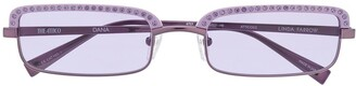 Linda Farrow x The Attico Dana crystal-embellished rectangular sunglasses