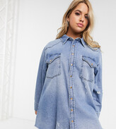 Asos DESIGN Curve denim oversized shirt in vintage midwash blue