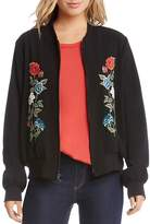 Karen Kane Floral Embroidered Bomber Jacket
