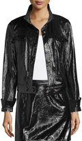 Frame Shiny Leather Crop Jacket, Noir