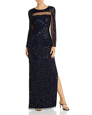 Aidan Mattox Embellished Open-Back Gown