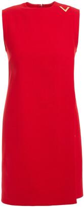 Valentino Wrap-effect Appliqued Wool-blend Crepe Mini Dress