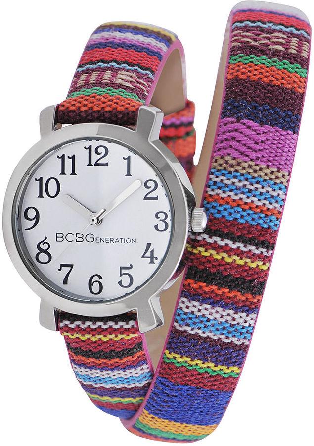 BCBGeneration Watch, Women's Tribal Print Canvas Double Wrap Strap 29mm GL4204