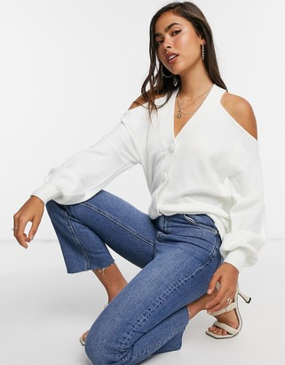 ASOS DESIGN cardigan with cut out detail in cream