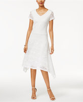 Sangria Lace Handkerchief-Hem A-line Dress
