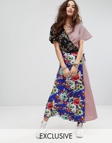 Reclaimed Vintage Inspired Maxi Wrap Dress In Mixed Print