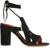 Santoni buckled fringed sandals - women - Leather/Suede - 36