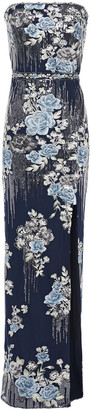 Marchesa Notte Strapless Embellished Embroidered Tulle Gown