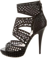 Miu Miu Leather Platform Caged Sandals