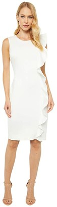 Calvin Klein Sheath Dress with Ruffle Detail (Cream) Women's Dress