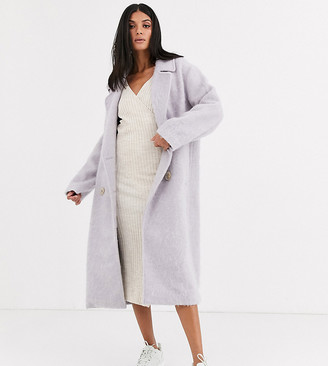 Asos Tall DESIGN Tall statement coat with hero buttons in lilac-Purple