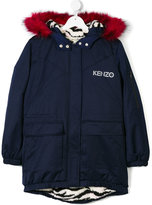Kenzo faux fur trim hood parka