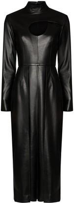MATÉRIEL Cutout Faux Leather Midi Dress