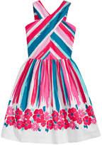 Bonnie Jean Cross-Neck Border-Print Dress, Big Girls