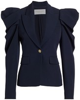 Michael Kors Wool Gabardine Puff-Sleeve Jacket