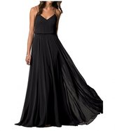 Botong V-Neck Evening Party Gown Sleeveless Chiffon Long Bridesmaid Dress