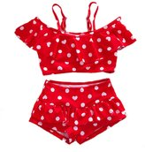 Three Babies Baby Girl Cute Swimsuits 2 Pieces White Dot Skirt Swimwear Sets (4T, )