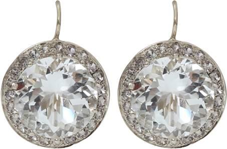 Andrea Fohrman 15MM Rock Crystal And Sapphire Earrings