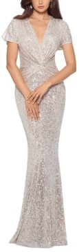 Xscape Evenings Twist-Front Sequinned Gown