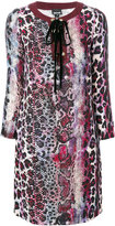 Just Cavalli lace up printed dress - women - Polyester/Viscose - 38