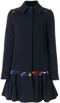 Love Moschino embroidered flared coat - women - Polyamide/Viscose/Cashmere/Virgin Wool - 38