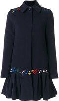 Love Moschino embroidered flared coat - women - Polyamide/Viscose/Cashmere/Virgin Wool - 42
