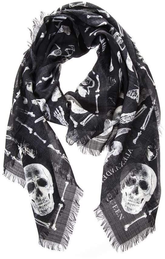 Alexander McQueen Skull & Bones Printed Scarf