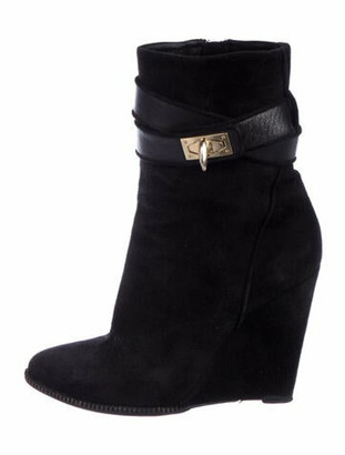 Givenchy Suede Animal Print Boots Black