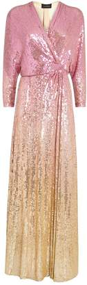 Jenny Packham Gina Ombre Sequin Wrap Gown