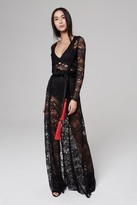 Amanda Wakeley Red & Black Lace Long Dress