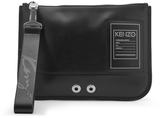 Kenzo Leather Zip Pouch Bag Black