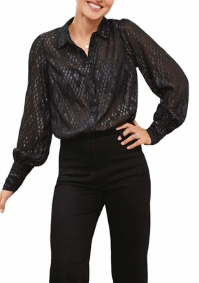 Secret Label Emma Willis Collection Ladies Black Embellished Sparkle Bead Blouse Shirt Size 14
