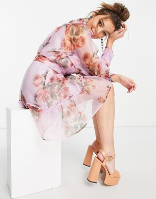 Forever U floral high neck mini dress in lilac
