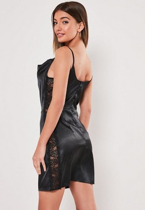 Missguided Black Satin Lace Side Cowl Neck Mini Dress